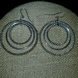 New triple hoop silver earrings